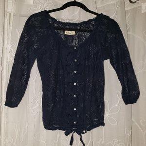 💛 HOLLISTER crop top, navy blue lace, size XS 💛